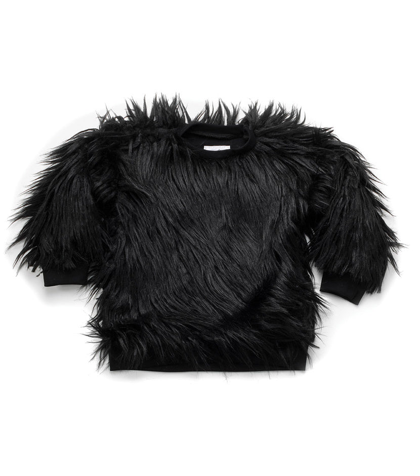 NUNUNU Faux Fur Sweatshirt | Black