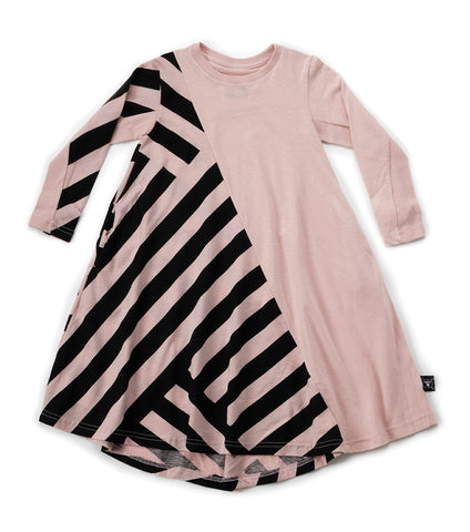 NUNUNU Striped 360 Dress | Powder Pink