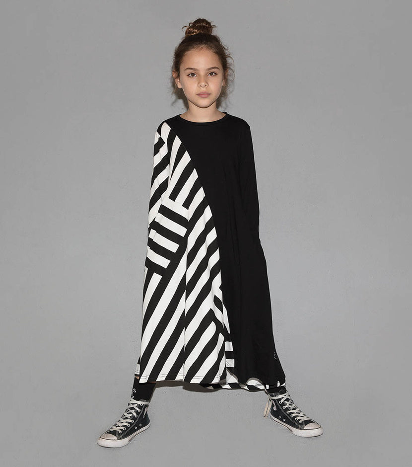 NUNUNU Striped 360 Dress | Black