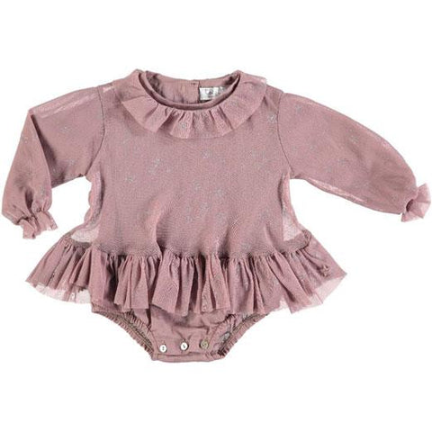 Tocoto Vintage Pink Tulle Stars Ruffle Romper Dress