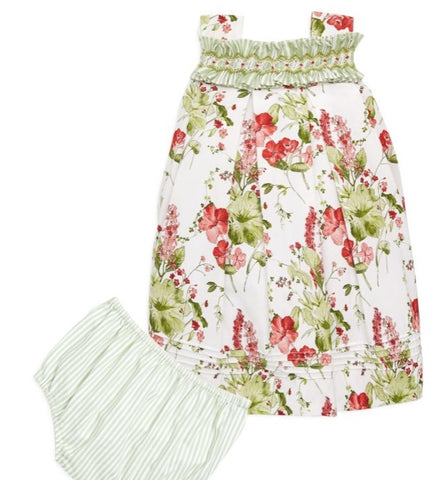 Luli & Me Baby Floral Smocked Dress Set