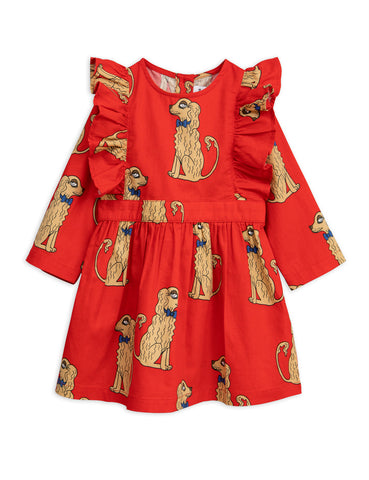 Mini Rodini Spaniels Woven Ruffled Dress