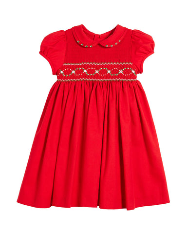 Luli & Me Half Smocked Puffy Sleeve Bishop Dress | Red