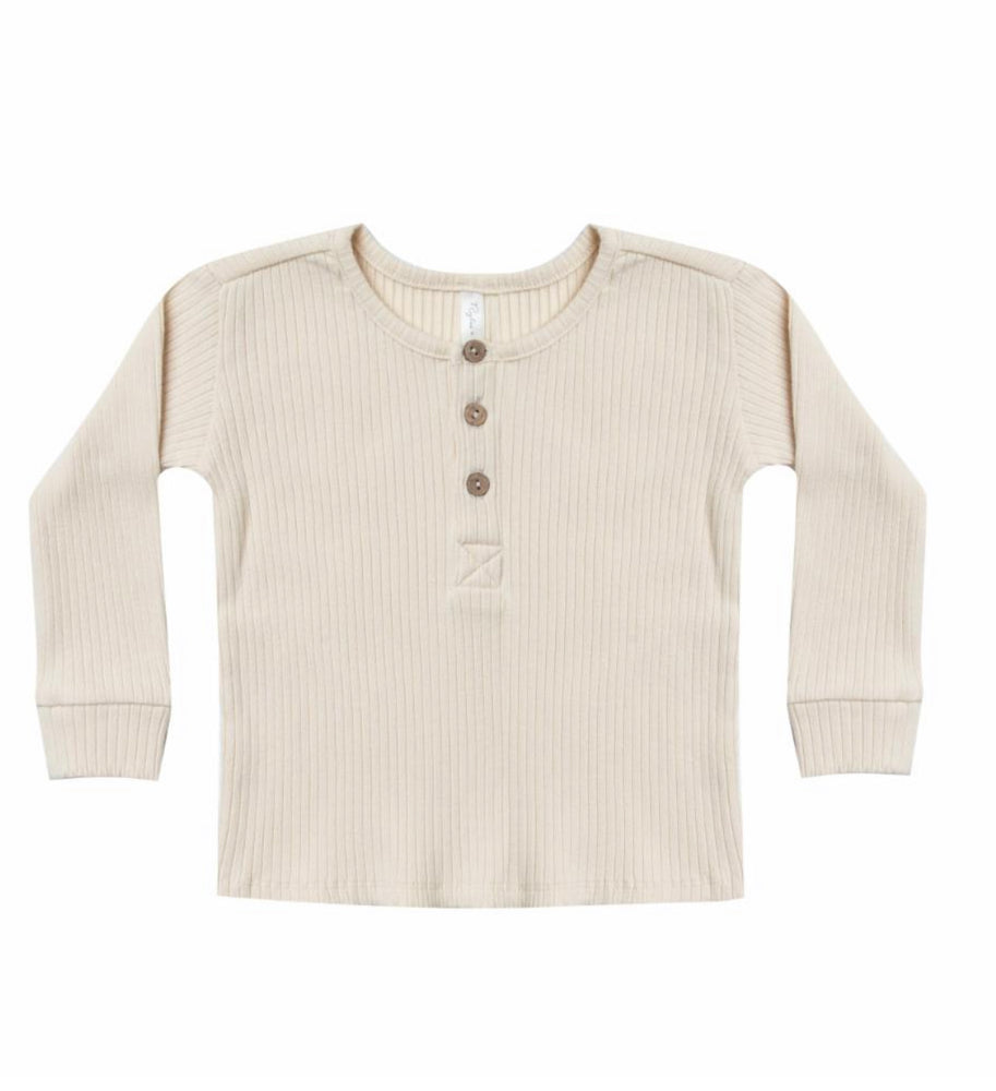Rylee + Cru Ribbed Henley | Ivory - TAYLOR + MAX
