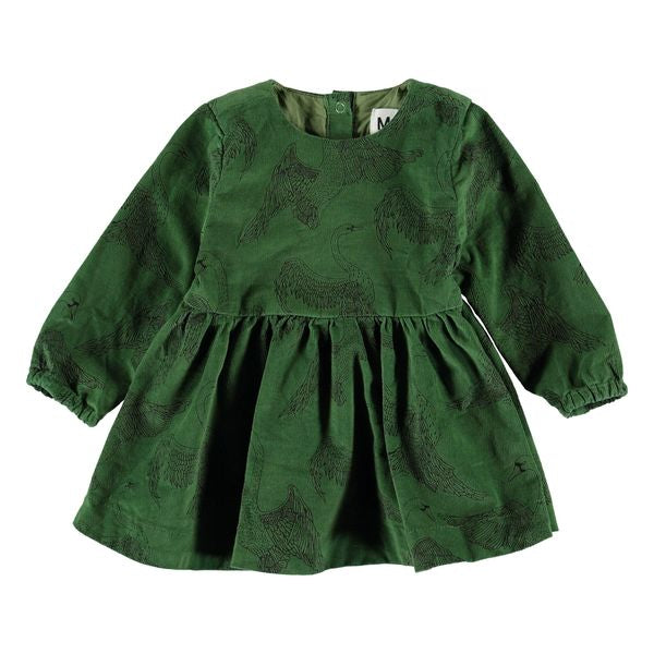 molo celia swan dress in green corduroy. long sleeves with full skirt.