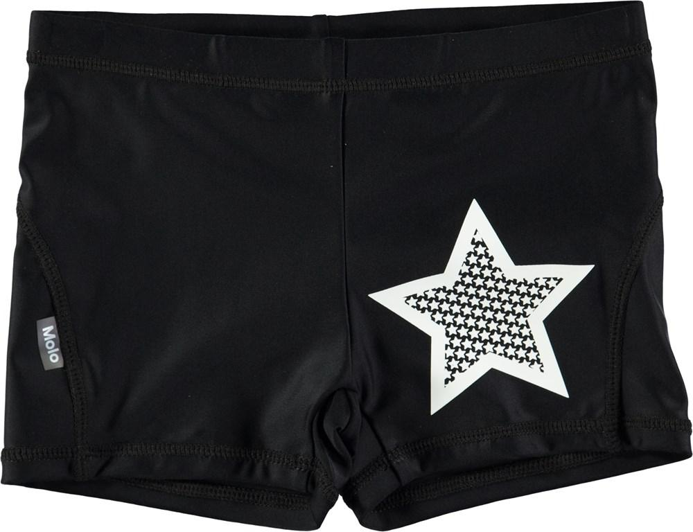 Molo Norton Solid Black Swim Shorts - TAYLOR + MAX