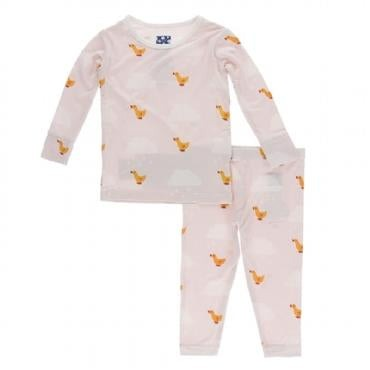 Kickee Pants pink puddle duck pajamas