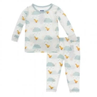Kickee Pants Long Sleeve Pajamas Natural Puddle Ducks - TAYLOR + MAX