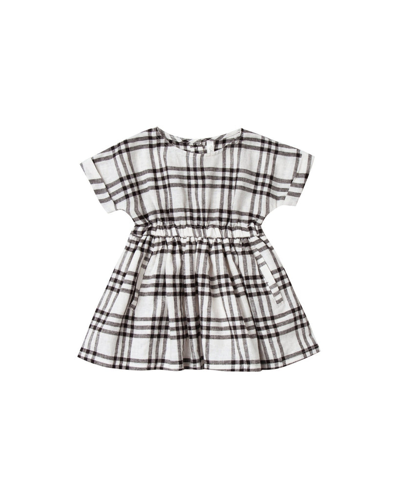 Rylee and Cru ivory and black check print dress made in 100% cotton crepe. A classic staple that can be worn year round.