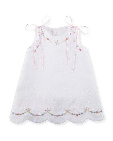 Luli & Me Pique Dress w/Floral Embroidery White