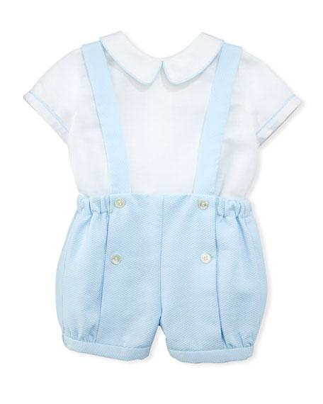 Luli & Me Contrast-Piping Shirt w/Suspender Shorts Set - TAYLOR + MAX