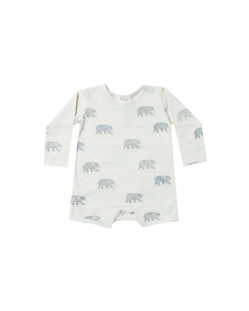 Ivory long sleeve romper with an all over bear graphic.  The bear is in dusty blue color. Rylee and Cru Bear Romper is available at Taylor and Max