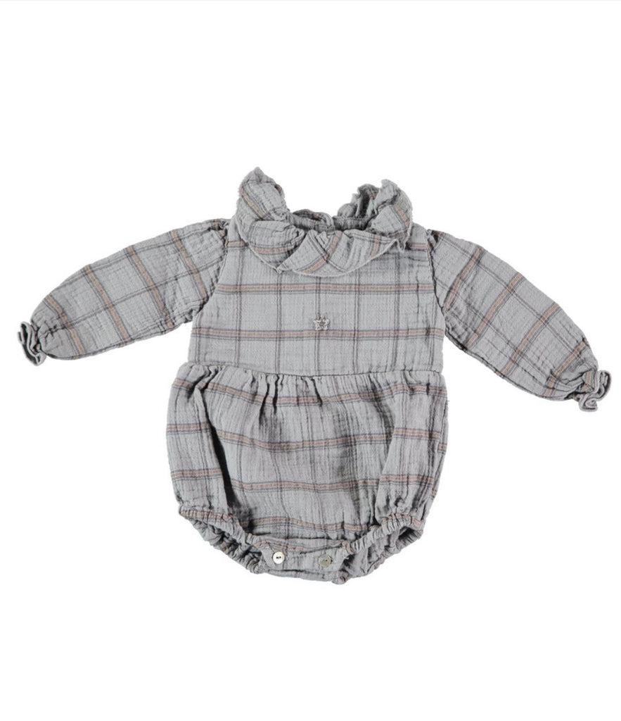 Tocoto Vintage ruffled collar checkered onepiece for baby girl is available at Taylor and Max Children's boutique.
