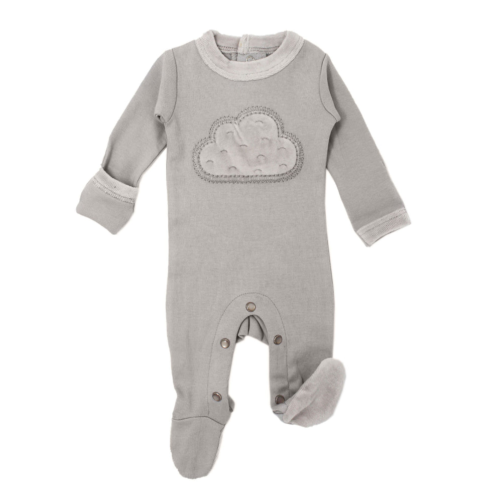 Load image into Gallery viewer, Velveteen Baby Footie | Soft Gray