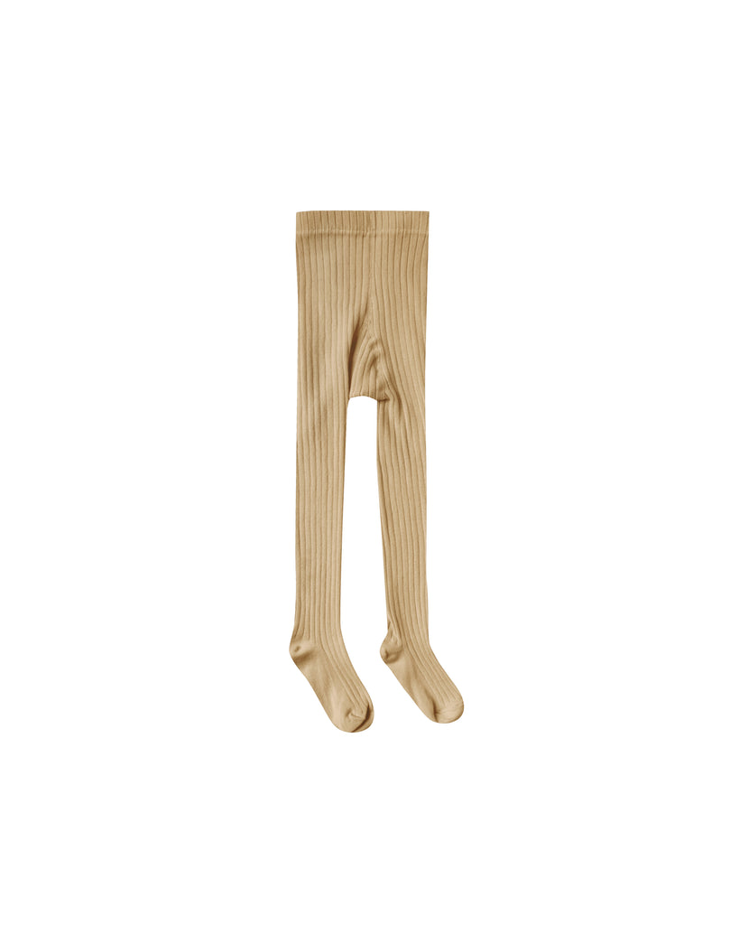 Rylee and Cru ribbed cotton tights in a honey color. These tights are unisex.