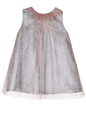 Isabel Garreton Soft Pink Mesh Hand Embroidered A-line Girls Dress