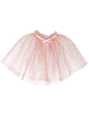Isabel Garreton Soft Pink Ruffle Cape With Velvet Tie