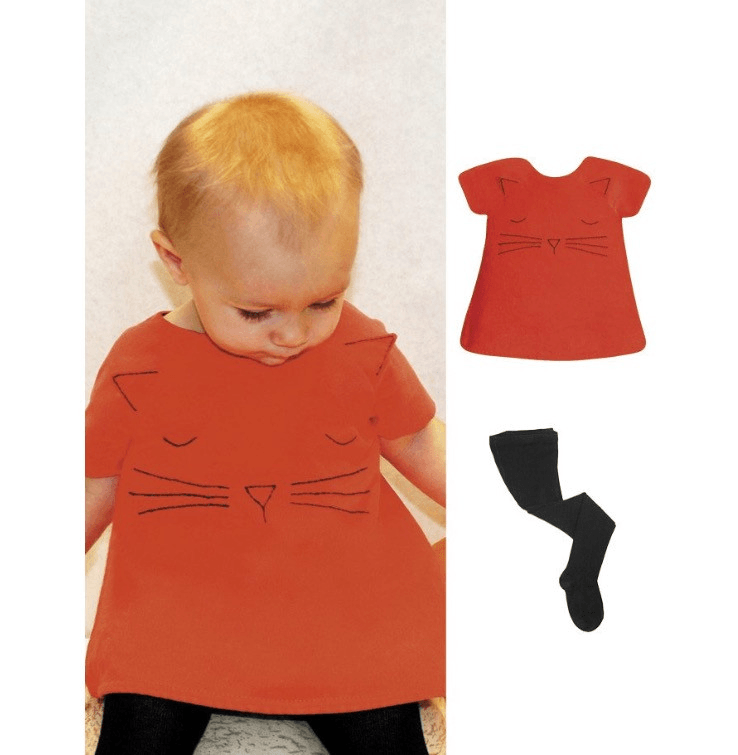 Isabel Garreton Baby's Cat Face Hand Embroidered  Dress - TAYLOR + MAX