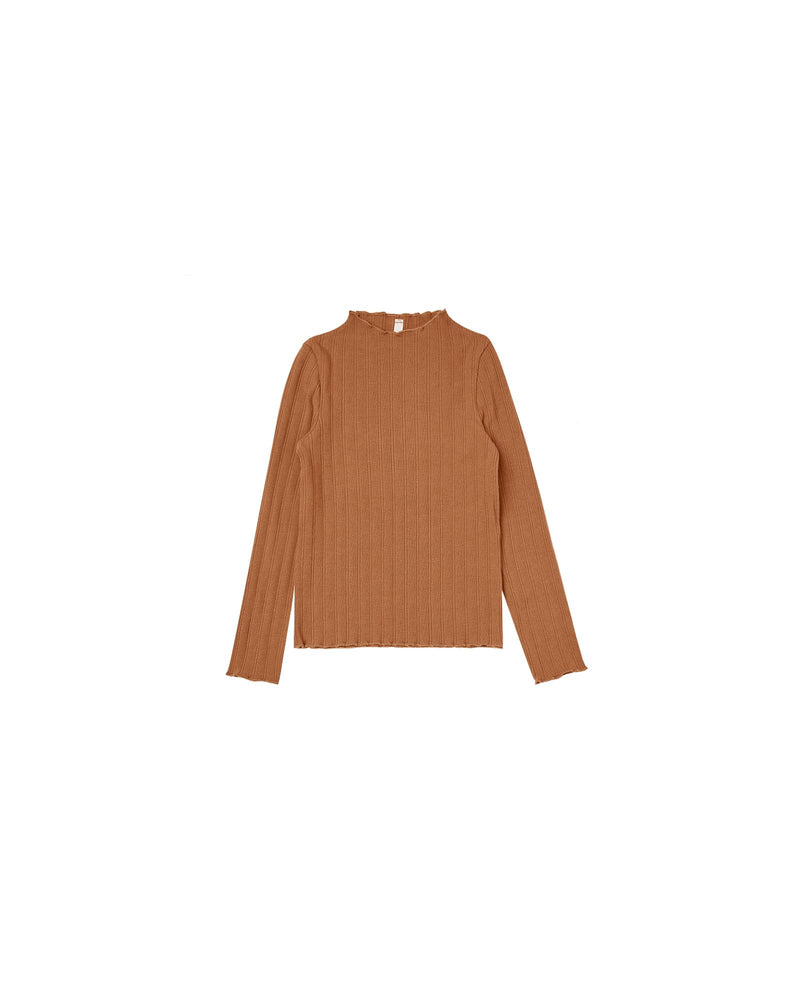 Ribbed Long Sleeve Shirt | Cinnamon