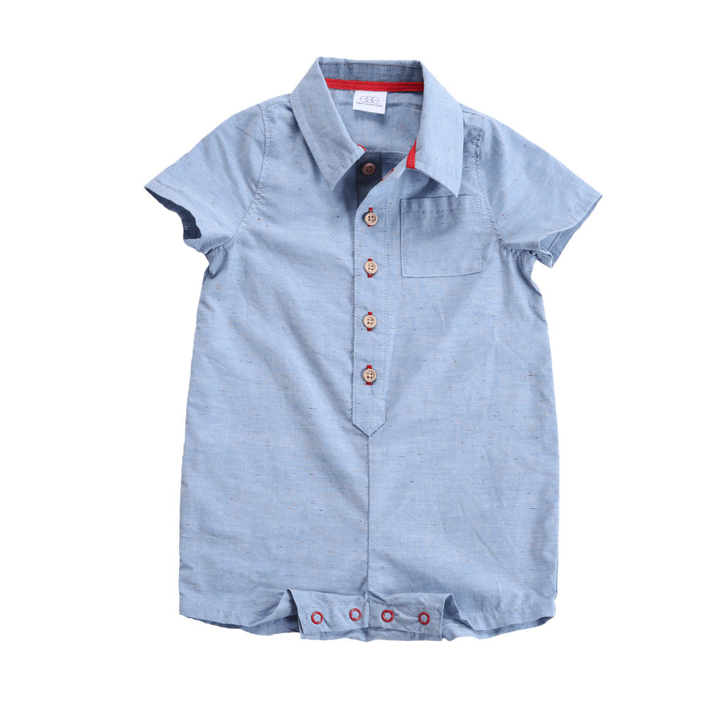 EGG Baby Short Sleeve Chambray Romper - TAYLOR + MAX