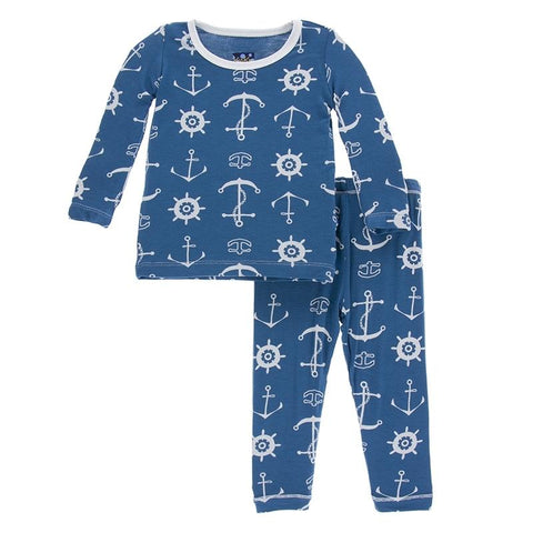 Kickee Pants Long Sleeve Pajama Set Twilight Anchor