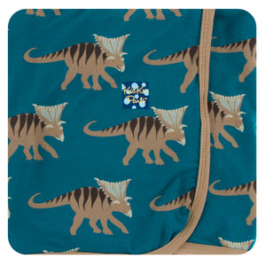 Load image into Gallery viewer, Kickee Pants Heritage Blue Kosmoceratops Swaddling Blanket - TAYLOR + MAX
