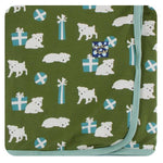 Kickee Pants Moss Puppies And Presents Swaddling Blanket - TAYLOR + MAX