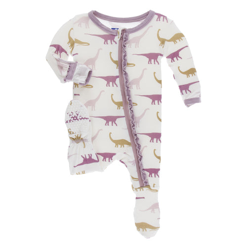 Kickee Pants Ruffle Print Footie with Zipper | Natural Sauropods - TAYLOR + MAX