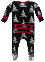 Kickee Pants Ruffle Footie with Zipper | Midnight Foil Tree - TAYLOR + MAX