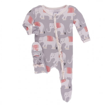 Kickee Pants Classic Ruffle Zipper Footie | Feather Indian Elephant - TAYLOR + MAX