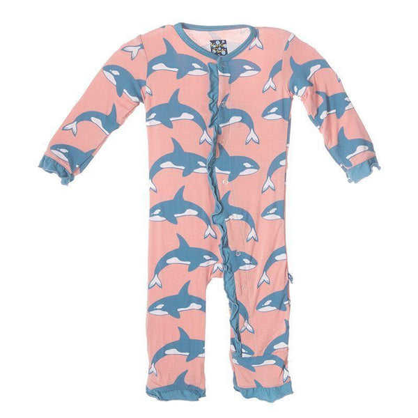 Kickee Pants Ruffle Coverall- Blush Orca