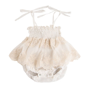Load image into Gallery viewer, Tocoto Vintage Cream Tulle/Lace Onesie - TAYLOR + MAX