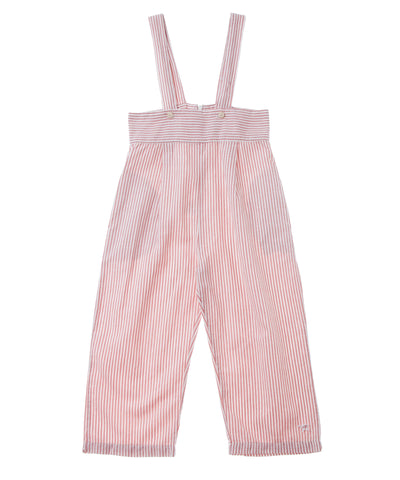 Tocoto Vintage Pink and White Striped Dungaree