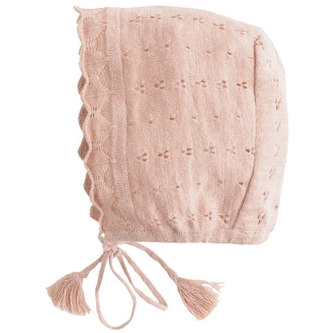 Tocoto Vintage Laced Bonnet in Blush Pink