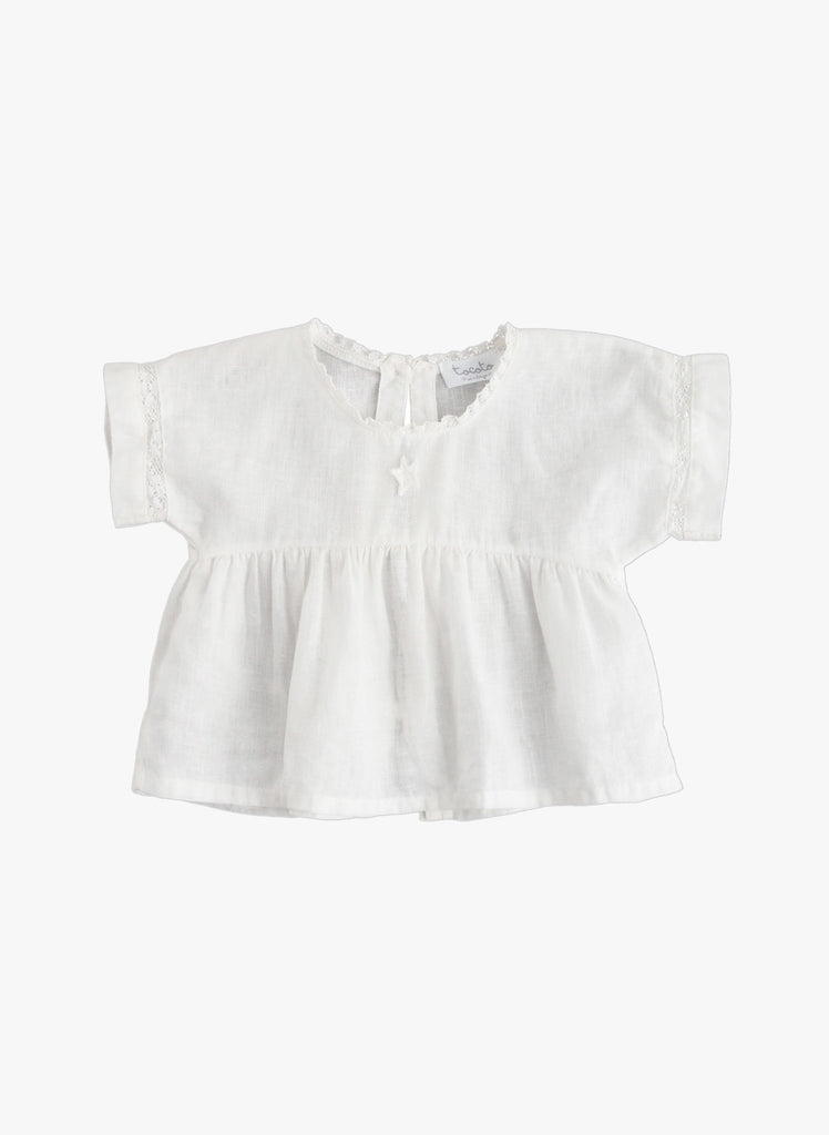 Tocoto Vintage White Baby Blouse with lace trim.