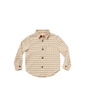 """Boys collared button-down shirt in a soft brushed flannel.  Color: cinnamon stripe  Care: Machine wash cold. Tumble Dry low. Minor shrinkage may occur if tumble dried.  Made of 100% cotton"""