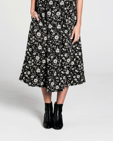 Rylee and Cru Midnight Floral Midi Skirt | Women