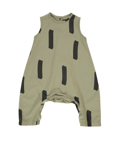 Beau Loves Cotton Wide Fit Romper | Olive Green, Paintbrush