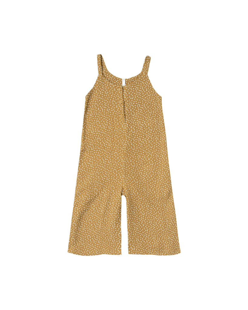 Sleeveless romper in saffron by rylee and Cru.