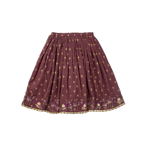 Moon Et Miel Plum Print Skirt