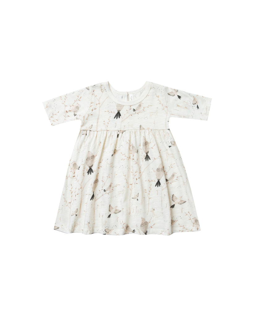 Rylee and Cru Finn dress with an all over bird print. Available at Taylor and Max children's boutique.