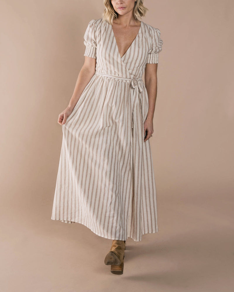 Load image into Gallery viewer, Rylee + Cru Stripe Wrap Dress | Women - TAYLOR + MAX