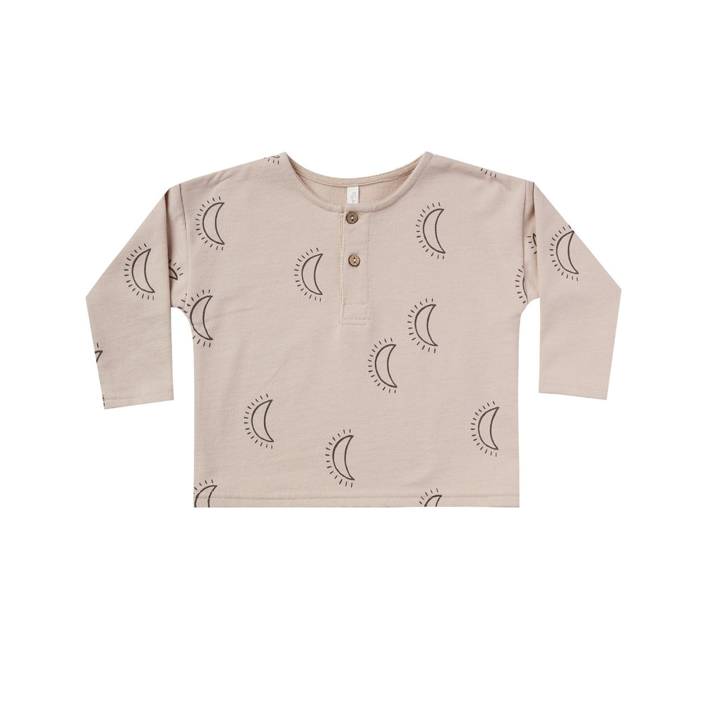 moon henly by Rylee and Cru. All over print in a dark grey hue is printed on a henlyn in Natural. long sleeves and made of 100% cotton.
