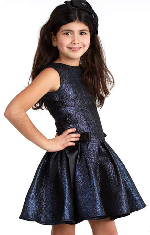Halabaloo Navy Dress with Ribbon