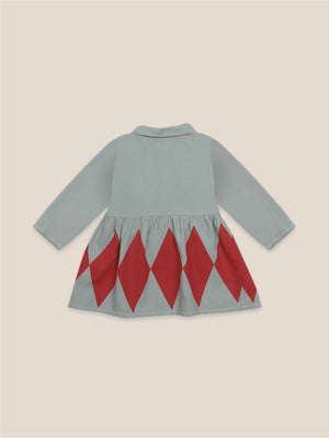 bobo choses diamond princess dress with blue tweetie bird on front left panel.