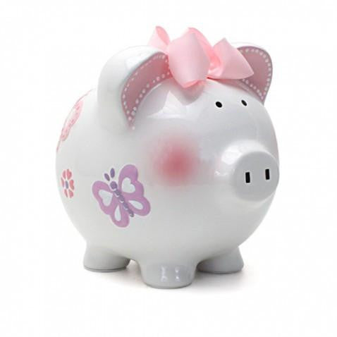 Hand Painted Personalized Butterfly Piggy Bank - TAYLOR + MAX