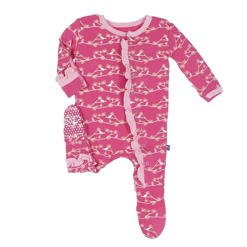 Kickee Pants Rose Birds Ruffle Footie - TAYLOR + MAX