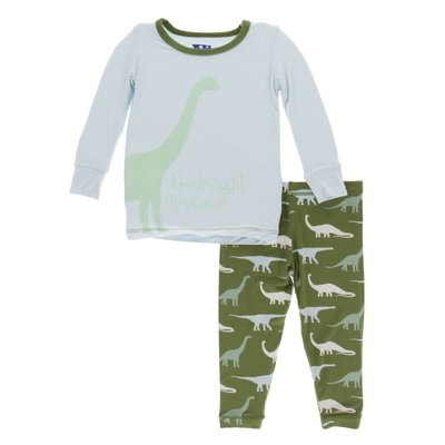 Kickee Pants Print Long Sleeve Pajamas | Moss Goodnight Dinosaur - TAYLOR + MAX