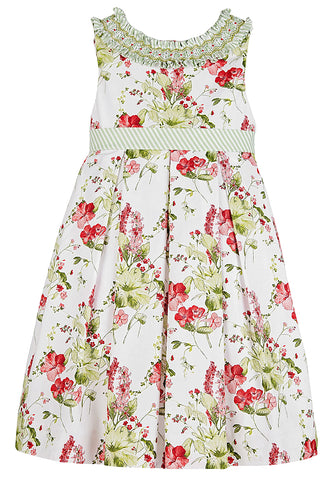 Luli & Me Girls Floral Dress w/Smocked Collar