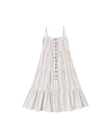 Rylee + Cru Sand Stripe Tiered Maxi Dress